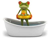 Frog in a bath Royalty Free Stock Photography
