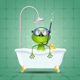 Frog in bath with diving mask Stock Images