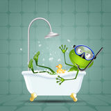 Frog in bath with diving mask Royalty Free Stock Images