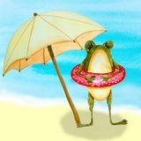 Frog on the beach vector illustration