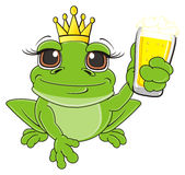 Frog with beer. Frog in crown sit hold a glass of beer stock illustration