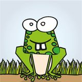 Frog with big teeth. Rana abstract grass background, vector illustration Stock Images