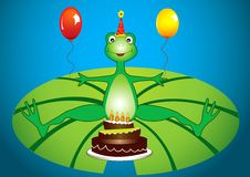 Frog birthday party. Frog cartoon birthday party with balloons and cake stock illustration