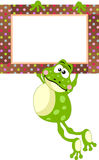 Frog with blank label Stock Images