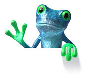 Frog with a blank sign Stock Images