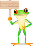 Frog with blank signboard Stock Image