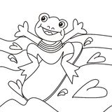 Frog and board - coloring Stock Photos