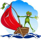 Frog on a boat Royalty Free Stock Photos