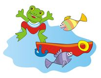 Frog and boat Royalty Free Stock Images