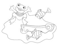 Frog and boat-coloring book Royalty Free Stock Photography