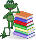 Frog and books. Funny frog leaning on a high stack of colored books stock illustration
