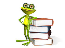 Frog and books. Illustration curious frog in glasses with a books royalty free illustration