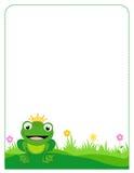 Frog border frame. Colorful frog prince order / frame on white vector illustration