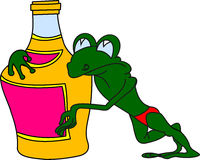 Frog with a bottle Royalty Free Stock Photo