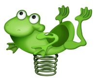 Frog bouncing on spring. A cartoon or drawing of a green frog, bouncing on a spring vector illustration
