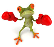 Frog boxing. Cute little frog, 3D generated Stock Photos