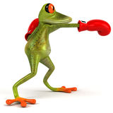 Frog boxing. Cute little frog, 3D generated Royalty Free Stock Photo