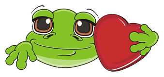 Frog boy hold a red heart Royalty Free Stock Images