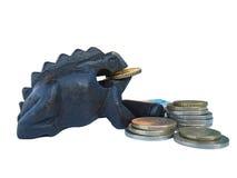 Frog bringing money on Feng Shui. Cash toad, money, Euro, Lira, visa card, figure ebony, symbol Stock Images