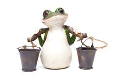Frog with buckets Royalty Free Stock Photography