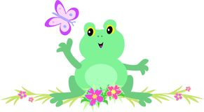 Frog with Butterfly on Flower Bar Stock Photos
