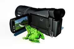 Frog and camera Royalty Free Stock Photography