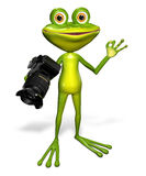 Frog with a camera Royalty Free Stock Photos