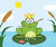 Frog Cartoon与在一个睡莲垫和箭头的Mascot Character公主栖息的冠在湖 库存例证