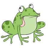 Frog cartoon. Funny cartoon frog with a big tongue Stock Photo