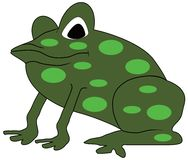 Frog cartoon. Large green, spotted frog cartoon Royalty Free Stock Photo