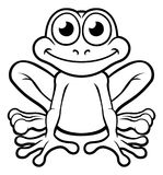 Frog Cartoon Character. An illustration of a cute frog cartoon character outline coloring illustration vector illustration