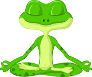 Frog cartoon doing yoga Stock Photos