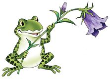Frog cartoon figure flower bell fantastic character Royalty Free Stock Photo
