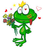 Frog cartoon with  flowers Stock Photography