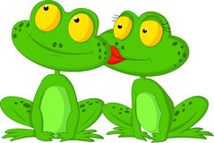 Frog cartoon kissing Stock Photos