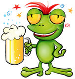 Frog cartoon with schooner beer Royalty Free Stock Photo