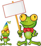 Frog cartoon with signboard Stock Photography