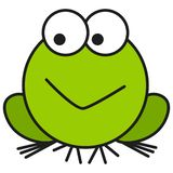 Frog in cartoon style. On white background, vector illustration royalty free illustration