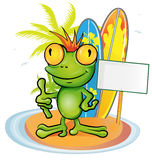 Frog cartoon surfer Royalty Free Stock Photo