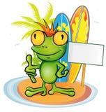 Frog cartoon surfer. On island background Royalty Free Stock Photo