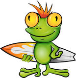 Frog cartoon surfer Stock Photo