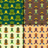 Frog cartoon tropical animal seamless pattern amphibian mascot character wild vector illustration. Royalty Free Stock Photography