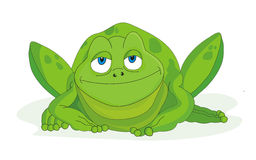 Frog cartoon vector illustration. The frog is an amphibian in the order Anura (meaning tail-less, from Greek an-, without + oura, tail), formerly referred to as royalty free illustration