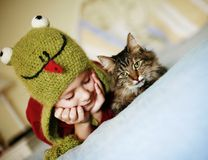 Frog and a cat, what a pair Stock Photo