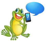 A frog with cell phone Stock Photo