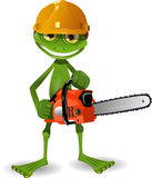 Frog with a chainsaw Royalty Free Stock Photography