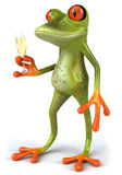 Frog and champagne Royalty Free Stock Images
