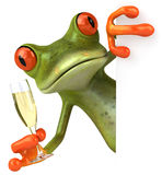 Frog and champagne Stock Photography