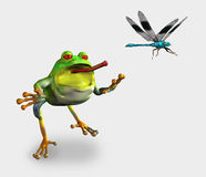 Frog Chasing a Dragonfly - includes clipping path. 3D render of a frog chasing a dragonfly stock illustration