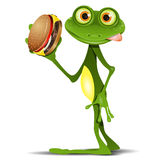 Frog and Cheeseburger. Illustration merry green frog with a delicious cheeseburger Stock Photo